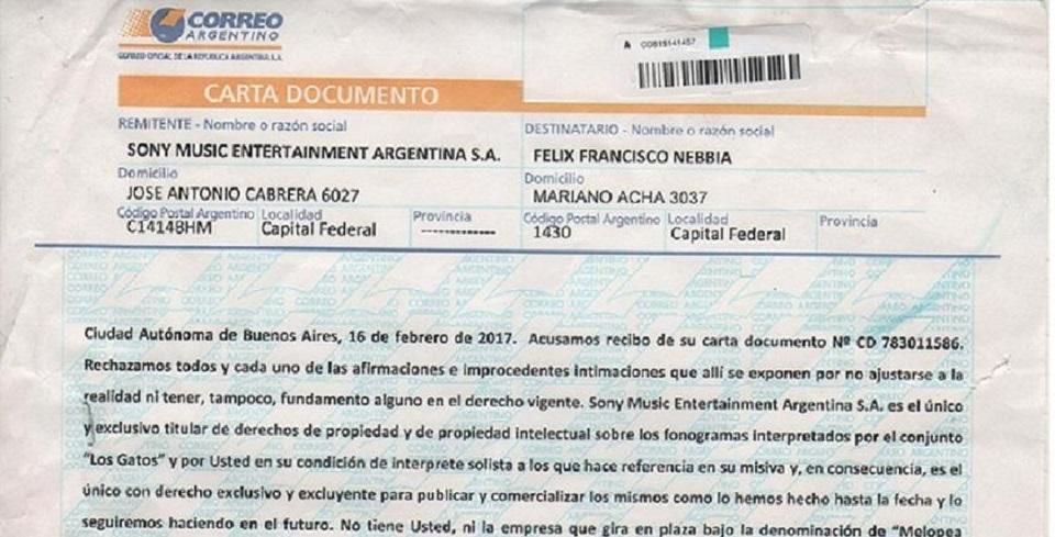 Sony niega los derechos de las canciones de Los Gatos a Nebbia