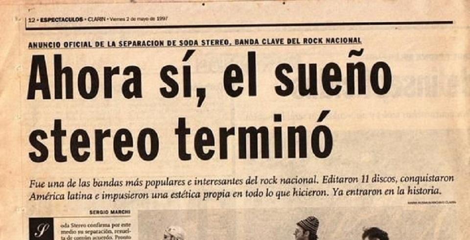 Soda Stereo anunciaba su separación, hace 20 años